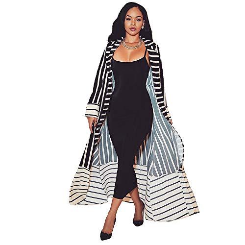 Gyan Damen Mode Casual langärmeligen Schwarzen und weißen Streifen Patchwork Muster Langen Abschnitt offen Strickjacke Mantel Jacke,M -