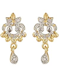 SKN Silver And Golden American Diamond Dangle & Drop Alloy Stud Earrings For Women & Girls (SKN-3364)