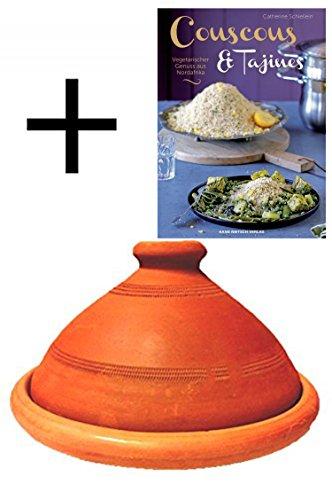 Tajine original aus Marokko inklusive Kochbuch Vegetarischer Genuss aus Nordafrika Tontopf zum Kochen Tuareg Ø 20cm, für 1-2 Personen, handgetöpfert aus Marrakesch, unglasiert, frei von Schadstoffe