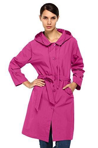 CRAVOG Damen Regenjacke Regenmantel Travel Wandern Sport Jacke Mäntel, EU 38/(Asian M) Pink