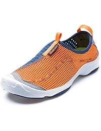 Makino hombre malla ligera Casual Sneaker–Zapatos de Senderismo, hombre, naranja/azul marino, 8 UK