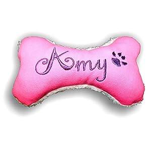 LunaChild Handmade Hunde Spielzeug Kissen Knochen Hundeknochen mit oder ohne Quitscher/Rassel pink mit Name Wunschname Größe XXS XS S M L XL oder XXL personalisiert Geschenk