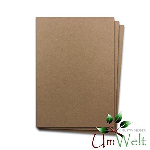 Naturpapier - Umweltpapier BRAUN | DIN A4 | 150 Bogen | - 170 g/m² - Naturkarton - Umweltkarton - Kraftpapier | 210 x 297 mm | Qualitätsmarkte UmWelt aus dem Hause GUSTAV NEUSER®