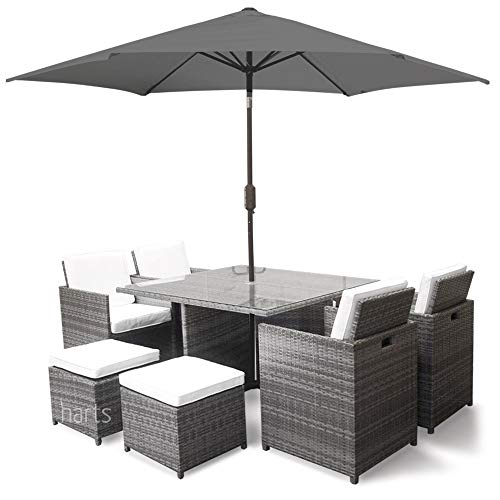 Harts Premium Rattan Dining Set, Cube 8 Seats Garden Patio Conservatory Furniture inc Rain Cover & Parasol (Grey)