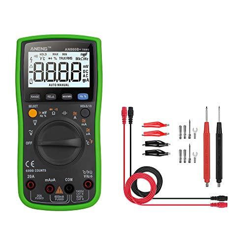 Asdomo AN860B+ Multimeter, 6000 Counts Digital Ohmmeter, manueller und automatischer Bereich, misst Spannung, Strom, Widerstand, Kontinuität, Kapazität, Frequenz; Testdioden, Transistoren, Temperatur