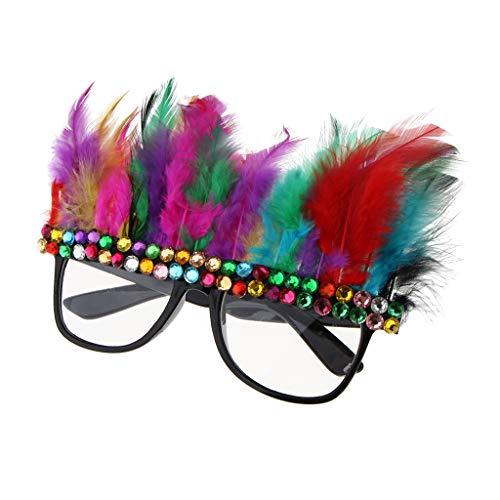 Baoblaze Feder Brille Party Gläser Lustig Partybrille Spaßbrille Fotorequisiten Foto Props für Herren Damen Kinder