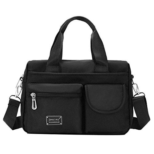 Longra Damen Umhängetasche Damen Henkeltasche Damen Handtasche Schultertasche Damen Wasserdichte Messenger Bag Designer Kuriertasche Rucksäcke Sporttasche Reisetasche aus Nylon (Black) - Authentic Designer-handtaschen