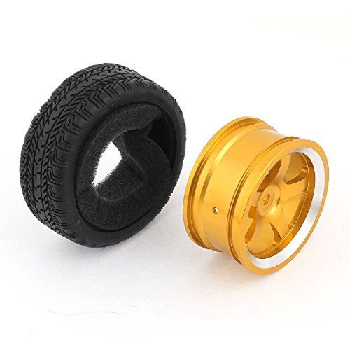 Aexit Cerchi in lega d'oro in lega di alluminio con pneumatici in gomma per auto da corsa giocattolo ID: 138848