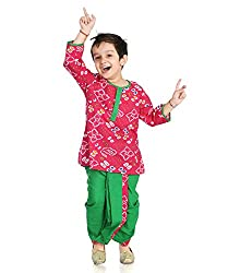 Little pocket store Pink And Green Cotton Printed Dhoti And Kurta
