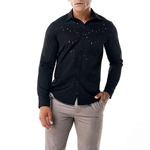 ITISME TOPS Herren Herbst Casual Shirts Langarm Shirt Hohle Shirt Top Bluse Winter Warm halten