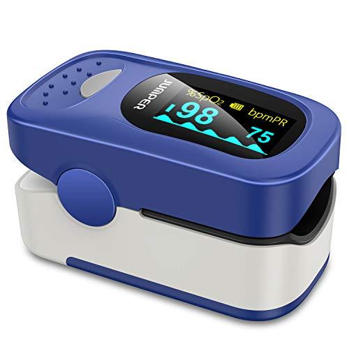 JUMPER 500A Pulsoximeter mit Großem OLED Bildschirm Finger SpO2 Pulsmesser Pulsmessgerät zur Messung der Blutsauerstoffsättigung und Herzfrequenz (Blau)