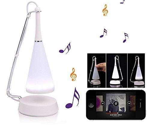 Amzdeal Lámpara de Noche Altavoz Bluetooth, 3 en 1 lámpara de escritorio con Led, Lámpara de audio inalámbrico Regulable + cable USB + cable de audio