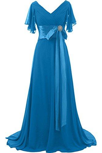 ivyd ressing préférée courte col en V manches longue femme Nœud avec pierres Prom robe Lave-vaisselle robe robe du soir Bleu
