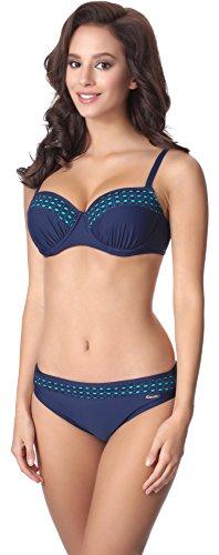aQuarilla Damen Bikini Set AQ129(Navyblau/Blau, 44) (Urlaub Kostüme Firma)