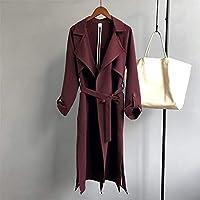 TJOIREJ Abrigos De Mujer Gabardina OtoñoCaqui Mujer Trench Coat Largo Prendas De Vestir Exteriores Suelta, M