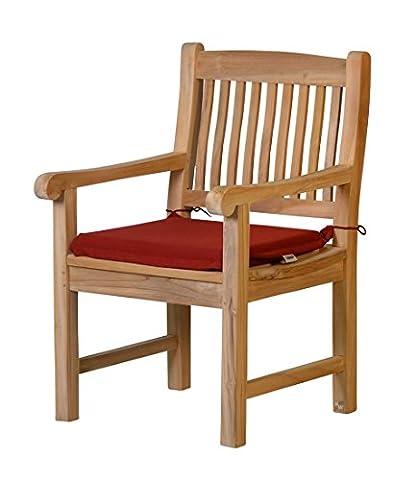 4 x Stuhlauflage aus lichtechtem Dralon – 50 x 45cm, bordeauxrot ✓ Waschbar ✓ Hoher Sitzkomfort ✓ Öko-Tex 100 | Stuhl-Kissen, Gartenstuhl-Auflage mit Bändern | Outdoor Sitzpolster für Garten-Stühle | Sitzkissen für Gartenmöbel mit Schleife