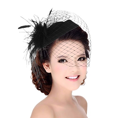 DEMU Damen Elegante Feder Fascinator Haarklammer Hochzeit Cocktail Netzschleier Mini-Hut Schwarz (Schwarzer Stirnband Schleier)