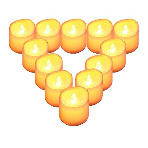 LED Kerzen,QBeau Tee Lichter mit Batterie,Candle Light,Hochzeits Kerzen(12PCS)