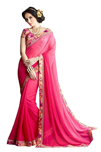 Jaanvi Fashion Women\'s Georgette Saree (purvi-pink_Pink)