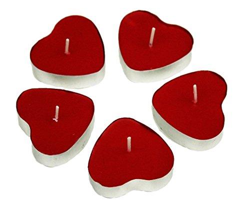 HAAC 5 Teelicht Kerzen in Herzform Herz Größe 4 cm Farbe rot