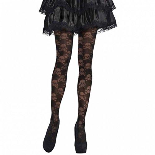 NET TOYS Halloween Damen Strumpfhose mit Totenköpfen Skull Gothic Tights Feinstrumpfhose Damen Strümpfe Damenstrumpfhose Totenkopf Damenstrumpfhosen Strumpfhosen Kostüm Zubehör -
