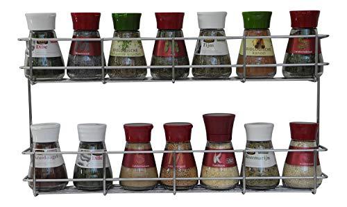 COPA Design 2 Etagen Kräuter- und Gewürzregal | Spice Organizer Wand montieren oder Küche Schrank Aufbewahrung (einfach zu installieren) | Messungen: (bxdxh): 410 x 60 x 210 mm | integrierte Gewürzregal für 2 x 8 Töpfe -