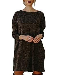 Frühling und Herbst Damen Pulli Kleid Freizeit Lang Strick Sweater  Oberteile Tuniken Sweatkleid Mode Langarm Pullover 932283cdbf