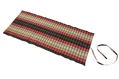 Handelsturm Rollbare Thaimatte Matratze, ca. 200 x 80 cm, Thaikissen Matte mit Füllung aus Kapok (200x80 cm, Schwarz-rot) -