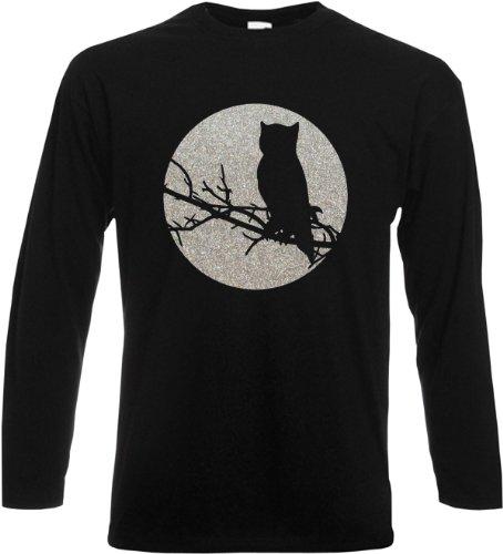 Langarm T-Shirt Owl Glitter Schwarz