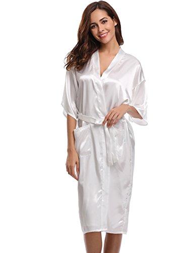Aibrou Damen Satin Morgenmantel Kimono Lang Bademantel Schlafanzug Negligee Nachthemd Nachtwäsche Unterwäsche V Ausschnitt Mit Gürtel Weiß