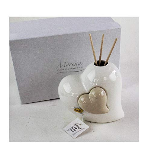 Dlm29558 profumatore beige coppia cuore in ceramica cuoricino diffusore per ambienti matrimonio comunione nozze battesimo bomboniera bomboniera