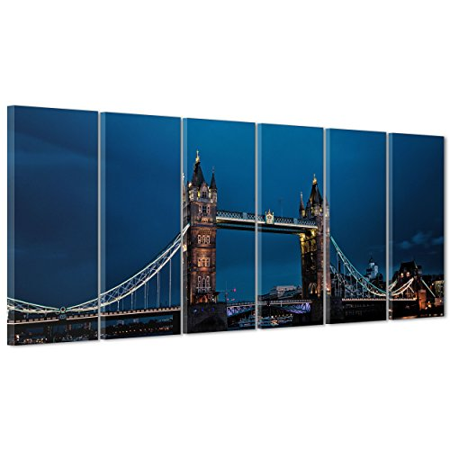 ConKrea Bild auf Leinwand Canvas-Gerahmt-fertig Zum Aufhängen-London UK-Tower Bridge-Bigben-England 190x70cm