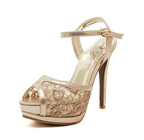 YMXJB Talon haut Fashion sandales yuzui mesh chaussures Gold