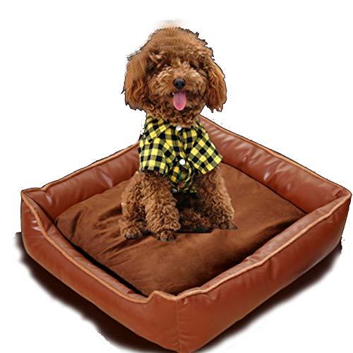 PYapron Haustier Nest Hundebett, super weiches Haustier Sofa Katze Bett, wasserdichte PU Zwinger Selbsthilfe warmes, atmungsaktives Haustier Bett Premium-Bettwäsche (braun) -