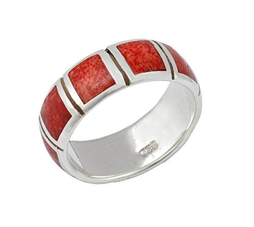 DTPsilver - Anillo de plata de ley 925 y coral rojo