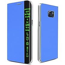 Funda con tapa vertical window display inteiigencia Samsung galaxia S6 edge + Plus SM-G928 para inteligente Smart View funciones - azul - AZUL