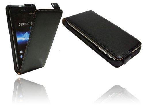 Klapptasche Schutztasche für Sony Xperia J (ST26i) in Schwarz Tasche Hülle @ Energmix