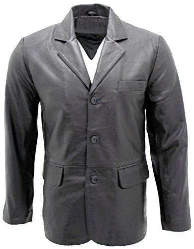 Männer schick Schwarz 3-Knopf Einreiher Jacke L