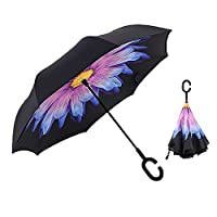 XIAO MO GU Creative Double Layer Inverted Umbrella Cars Reverse Umbrella, Windproof UV Protection Inverted Umbrella for Car Rain Outdoor Hands Free Handle With Carrying Bag