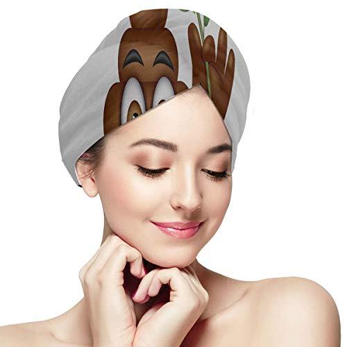 Poo Emoticon Holding Red Rose Emoji Poop Gesicht Frauen Haar-Trockentuch Haar-Trockentücher für langes Haar Weiches saugfähiges, schnell trocknendes Haar Turban Schnell trocknendes Handtuch Haar-Troc (Gesicht Poop)