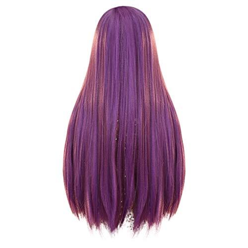 Damenperücke, Kunsthaar, lang, glattes Haar, hitzebeständig, Violett