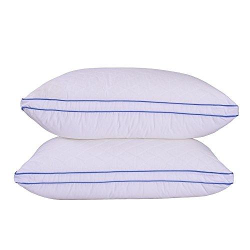 Sfoothome Gestepptes Kissen - Hotelqualität Plüsch-Gel Faser gefüllt Kissen mit einem gesteppten Baumwollbezug, Bettkissen für Seiten- und Rückenschläfer Queen weiß -