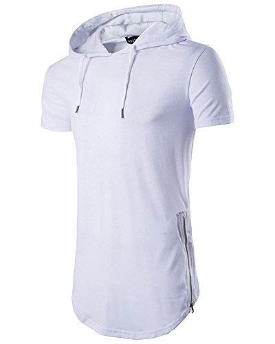 Herren Kurzarm Hoodie Kapuzenpullover Lange Hooded T-Shirt