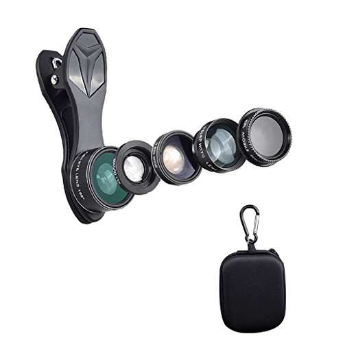 MagiDeal Telefon Kamera-Kit 198 Fischaugenobjektiv + 0,63 X Weitwinkelobjektiv + 15 X Makroobjektiv + 2 X Teleskopobjektiv + CPL-Objektiv