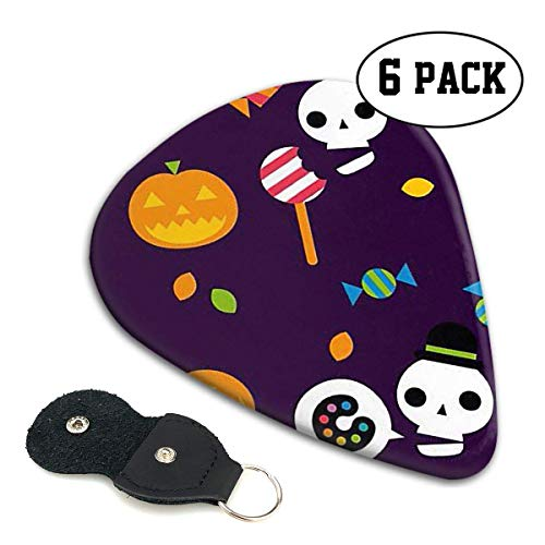 Halloween Wallpaper Holiday Celluloid Guitar Picks Premium Picks 6 Pack for Guitar,Mandolin,and Bass 0.46mm, 0.71mm, 0.96mm Optional with PU Leather Pick Holder(0.46mm) (Wallpaper Halloween Hd)