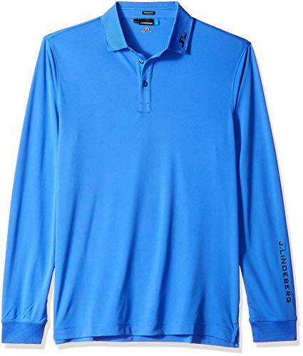 J.Lindeberg Herren Long Sleeve Tour Tech Jersey Polo Golf-T-Shirt, Daze Blue, Groß -