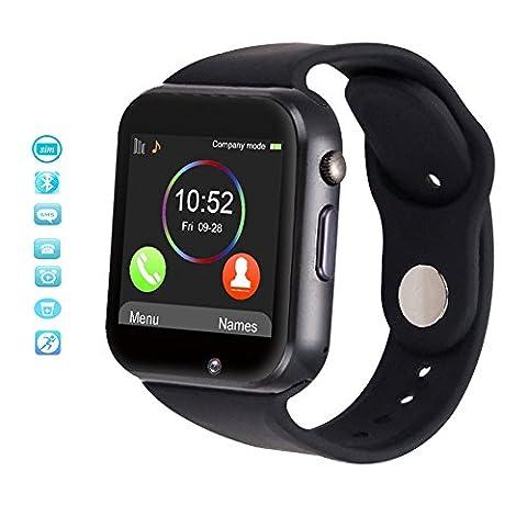 MallTEK Smartwatches 1.54'' Smart Watch Multi-Sprachen mit SIM & TF Karte Slot Smartwatch Whatsapp Facebook Twitter Schrittzähler, Schlafmonitor, Fernbedienung Kamera kompatibel für Sony Samsung huawei HTC und andere Android Handy Smartphone (Unlocked Gsm-bluetooth-kamera-telefon)