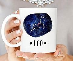 Idea Regalo - ZonaloDutt Tazza di caffšš Tazza di Costellazione di Leo Tazza dello Zodiaco Regalo di Compleanno Astrologia Segno Zodiacale Segno Zodiacale Coppa del Leone