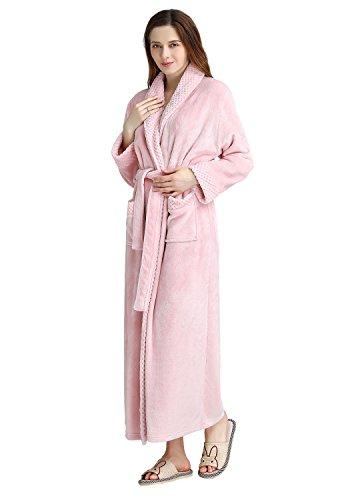 ZAKASA Langer Fleece-Roben der Frauen luxuriöser Plüsch-Bademantel Pyjamas Sleepwear in voller Länge - Lange Für Fleece-roben Frauen