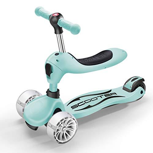 1-8 Jahre altes Kind 3-in-1 Multifunktions-Kleinkind-Walker, Baby-Roller, Surf-Auto, EIN-Knopf-Schalter, Vier-Rad-Flash (Farbe : Green)